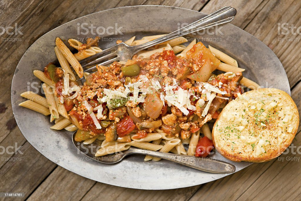 Penne Pasta And Spaghetti Sauce royalty-free stock photo