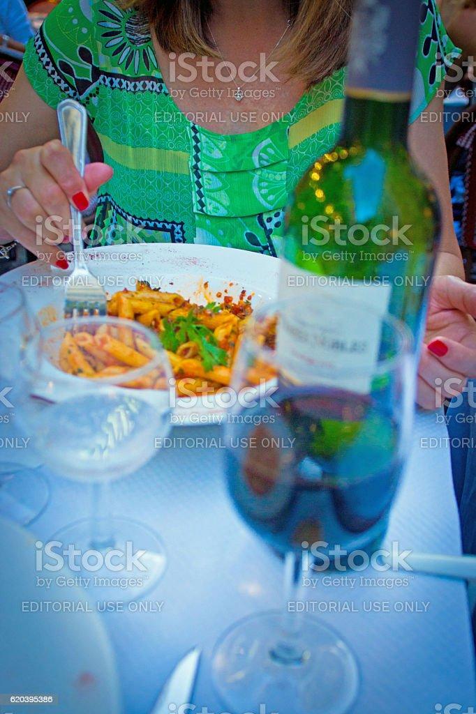 Penne pasta dish stock photo