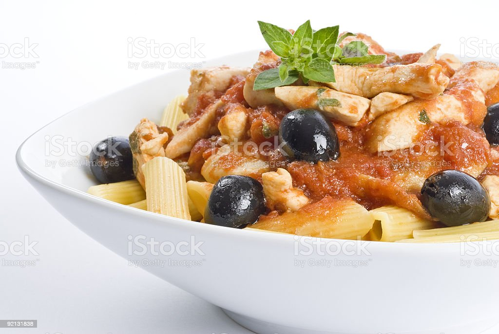 Penne Pasta with Chicken Breast Meat and Black Olives royalty-free stock photo
