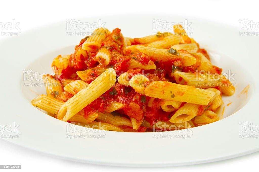 Penne pasta with chili sauce arrabiata stock photo