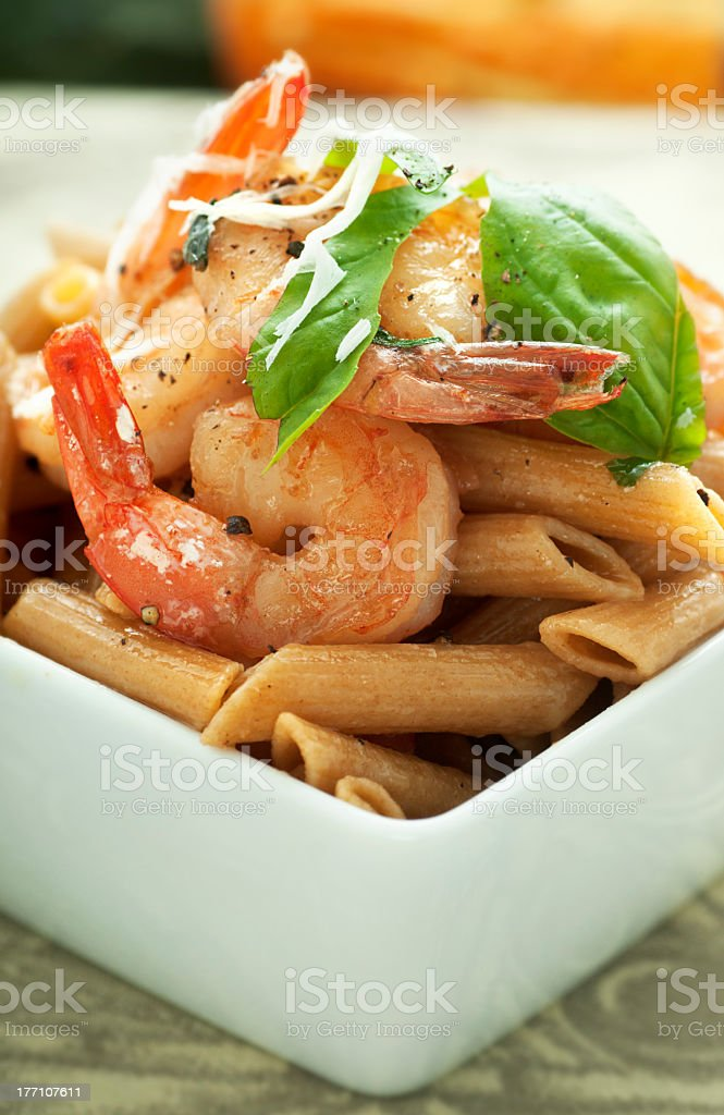Penne Pasta with Shrimp royalty-free stock photo