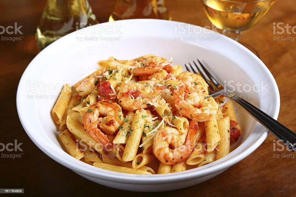 Penne Pasta With Shrimps stock photo