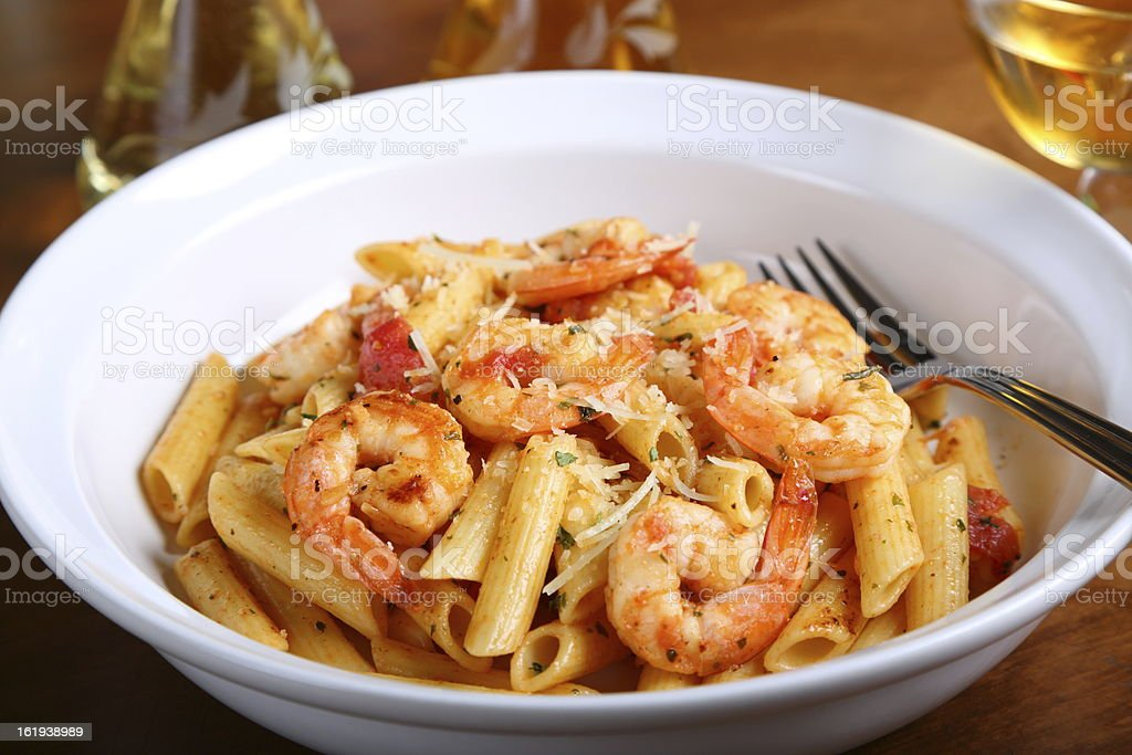 Penne Pasta With Shrimps royalty-free stock photo