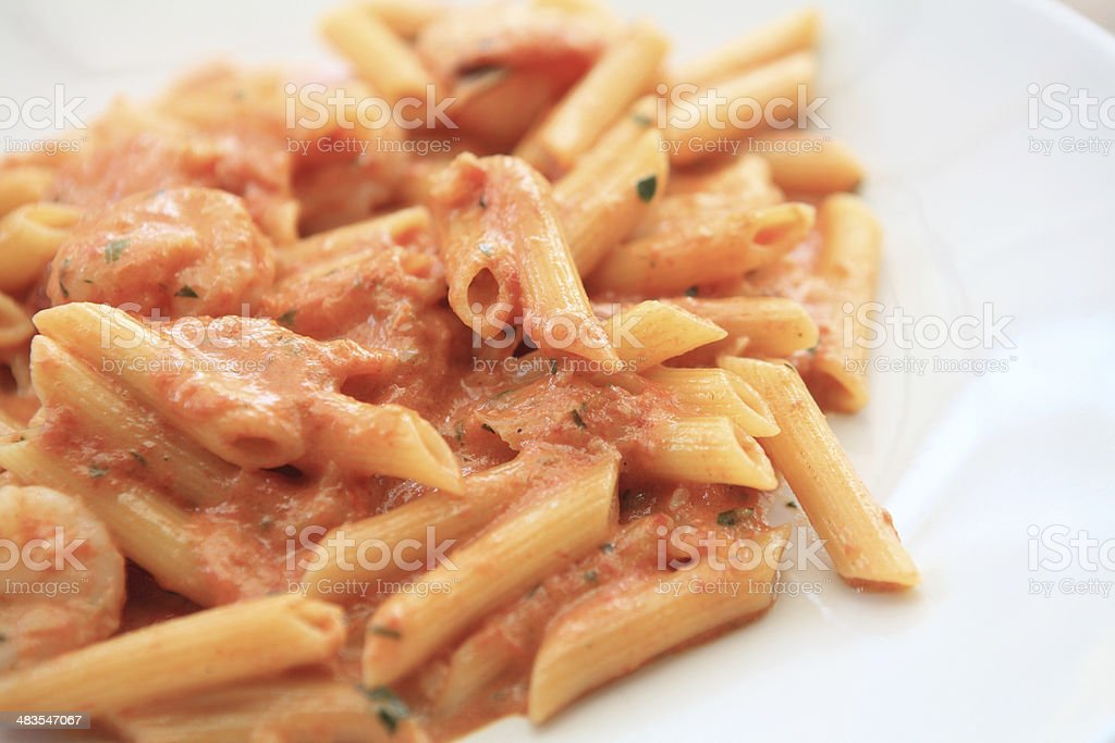 penne pasta with vodka tomato sauce and shrimp stock photo