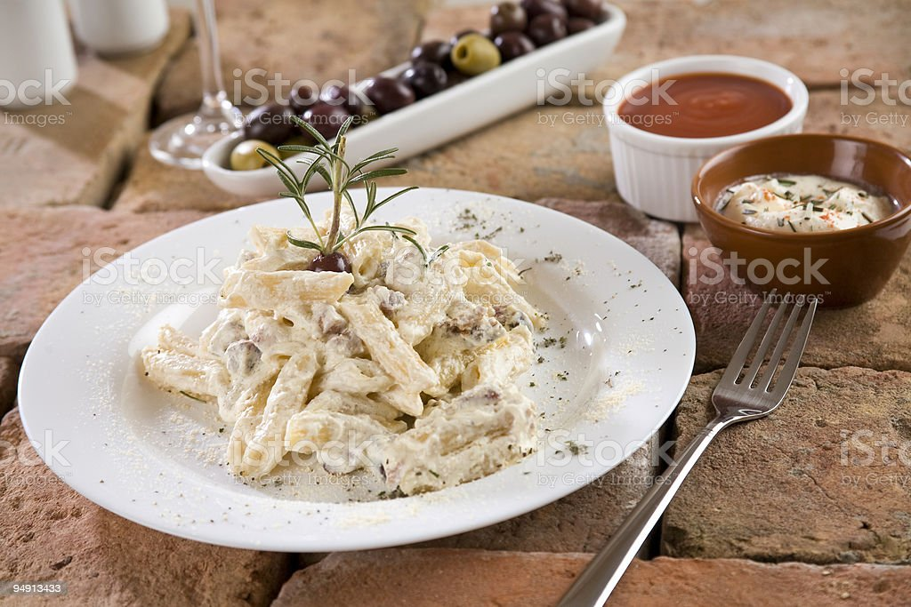 Penne with Carbonara Sauce stock photo