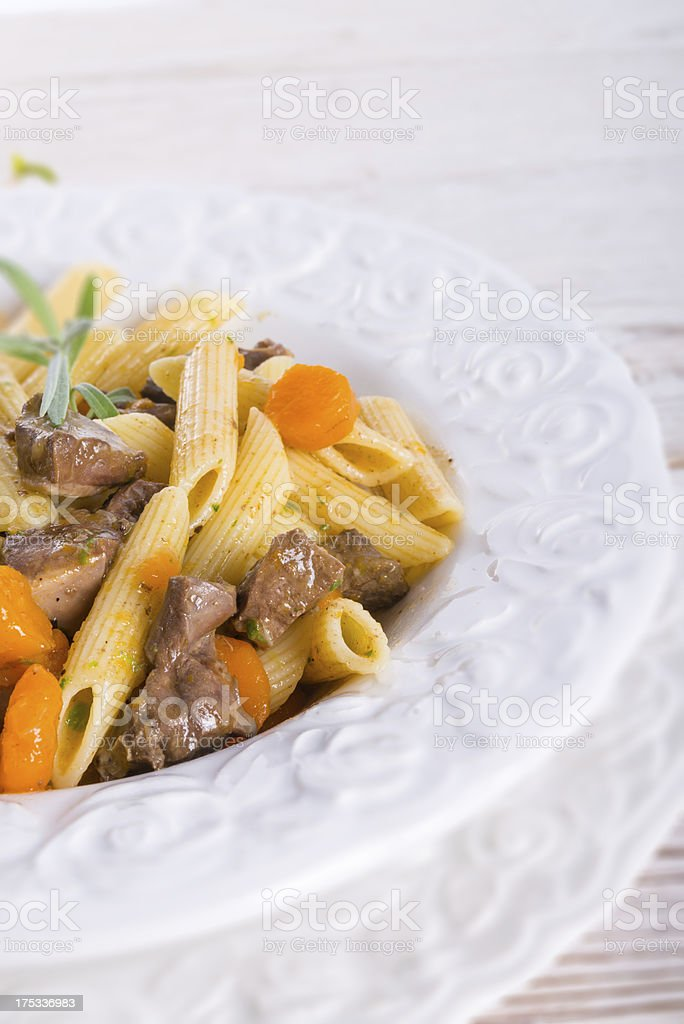 penne with goulash royalty-free stock photo