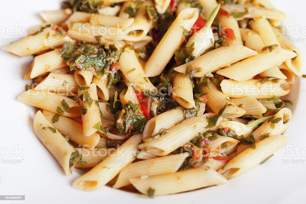 Penne with herbs royalty-free stock photo