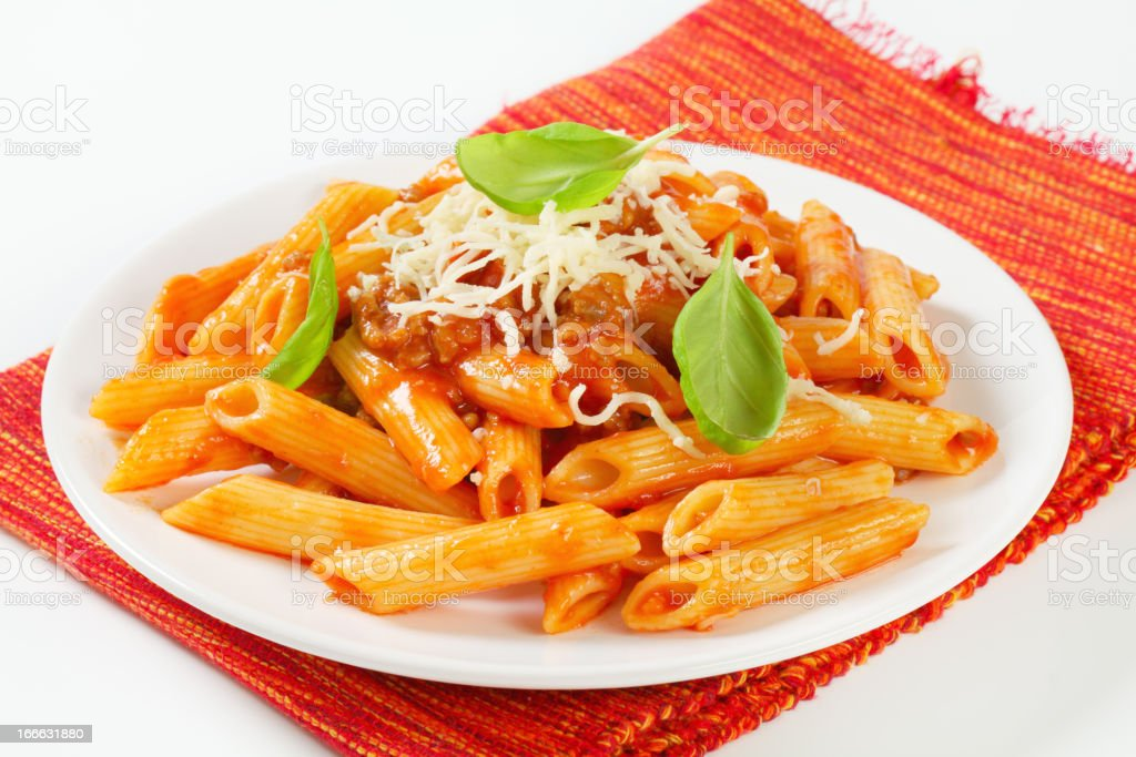 Penne with meat tomato sauce stock photo