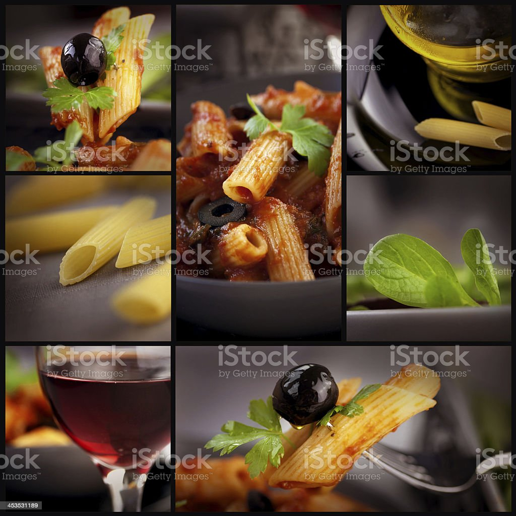 Penne with olives collage royalty-free stock photo