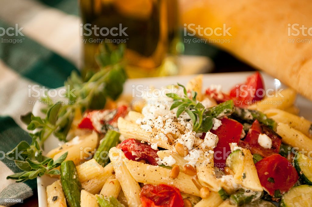 Penne with Oven Roasted Vegetables stock photo