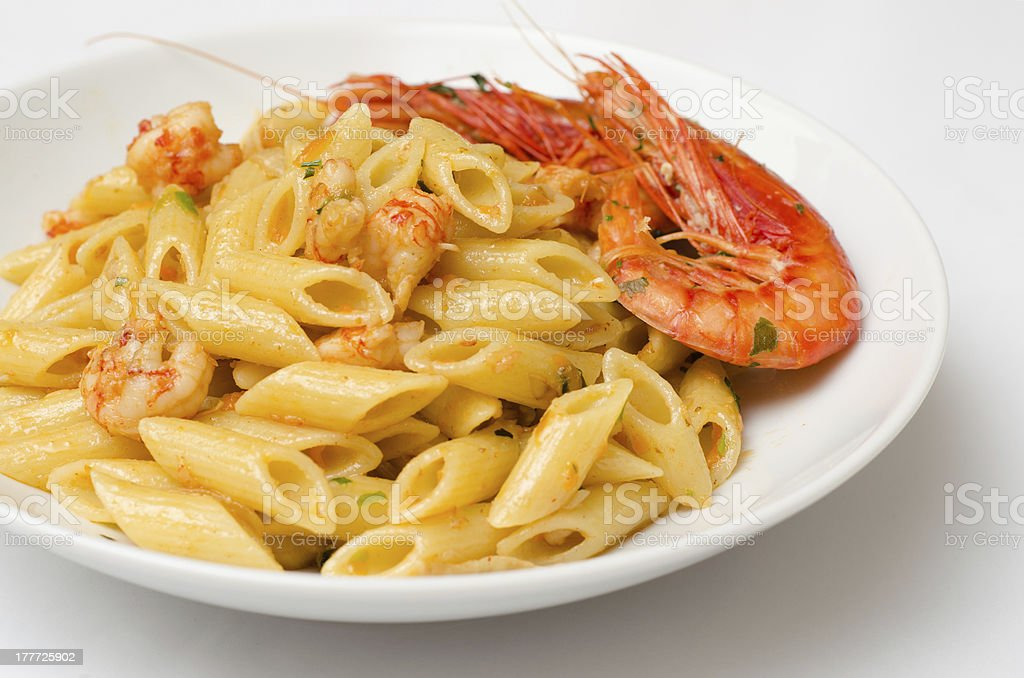 Penne with shrimps royalty-free stock photo