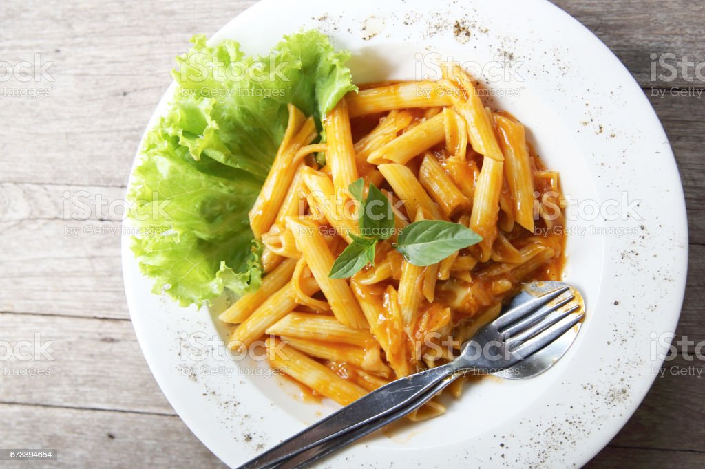 Penne with tomato stock photo