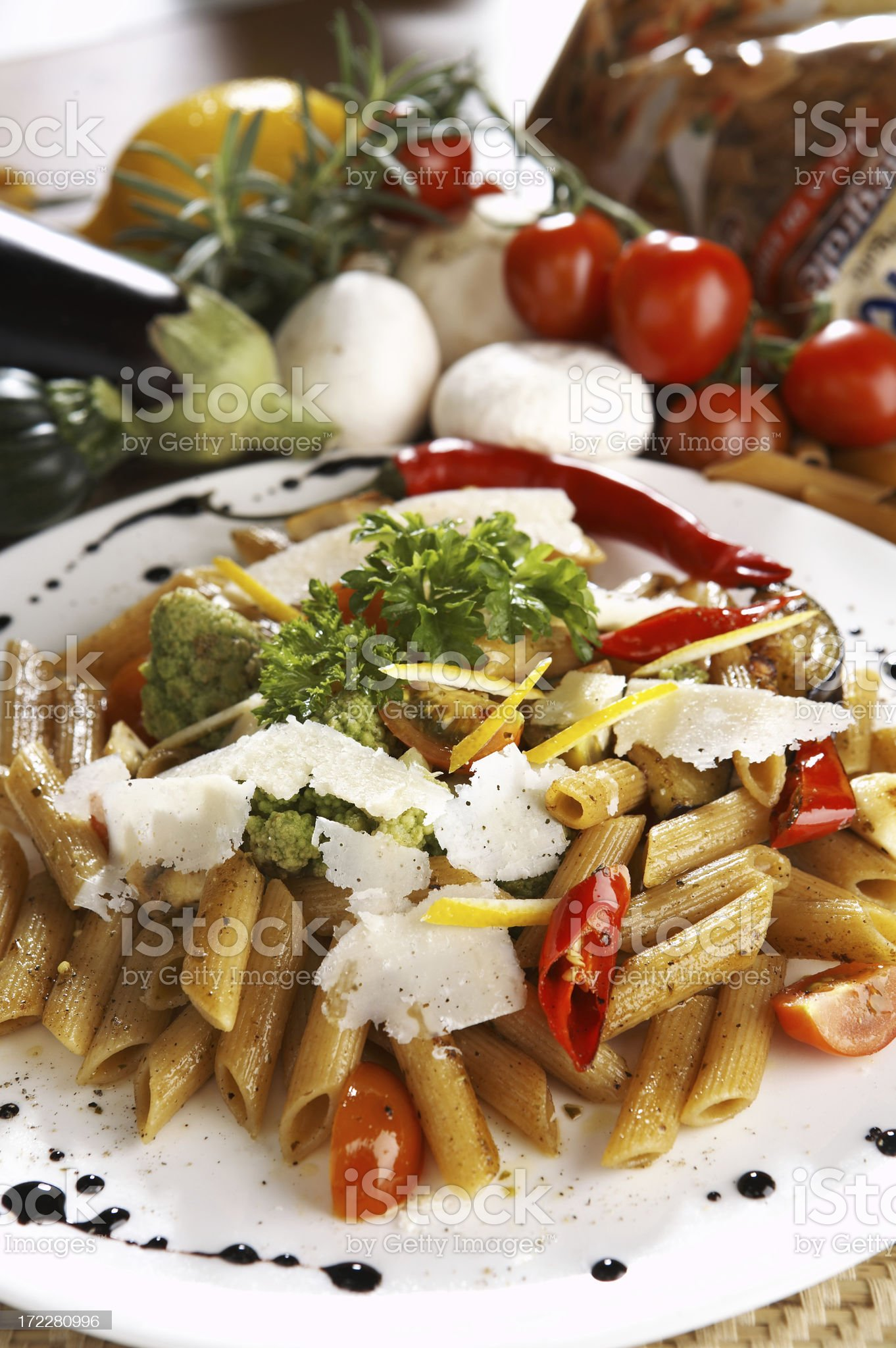 Penne with vegetables royalty-free stock photo