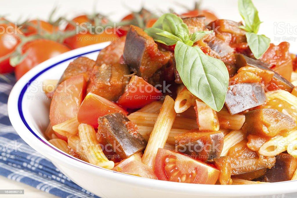 Pennette pasta alla norma Italian Food royalty-free stock photo