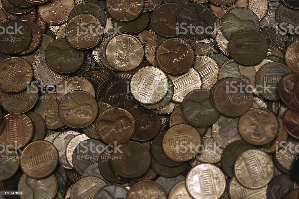 Pennies Galore - Pile of Coins royalty-free stock photo