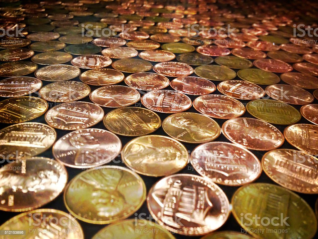 Pennies Laying Flat stock photo