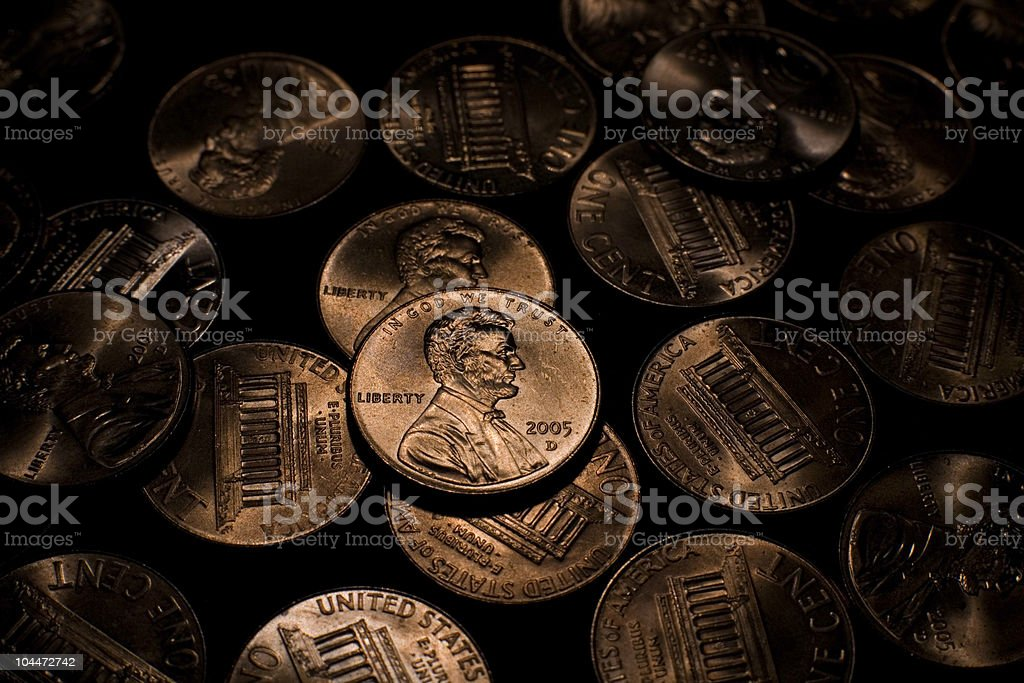 Pennies royalty-free stock photo