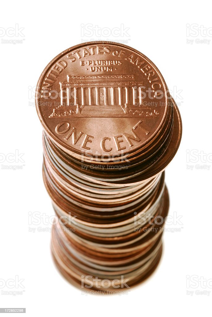 Pennies stock photo
