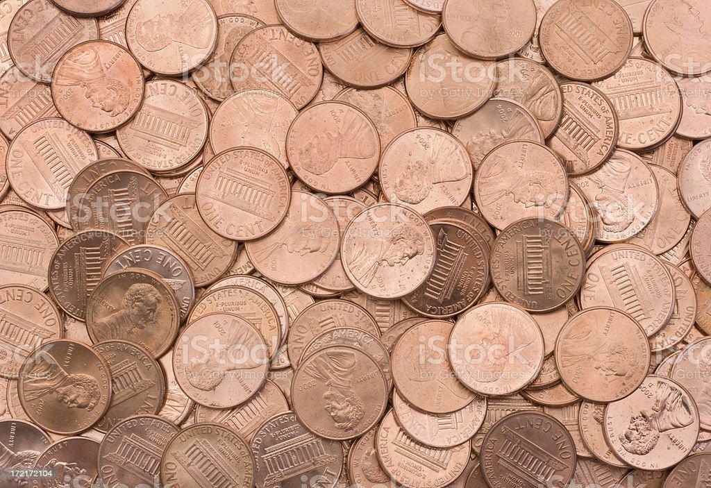 U.S. Pennies Texture stock photo
