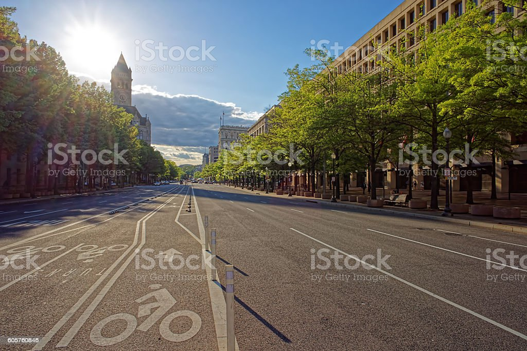 Pennsylvania avenue in the evening in Washington DC stock photo
