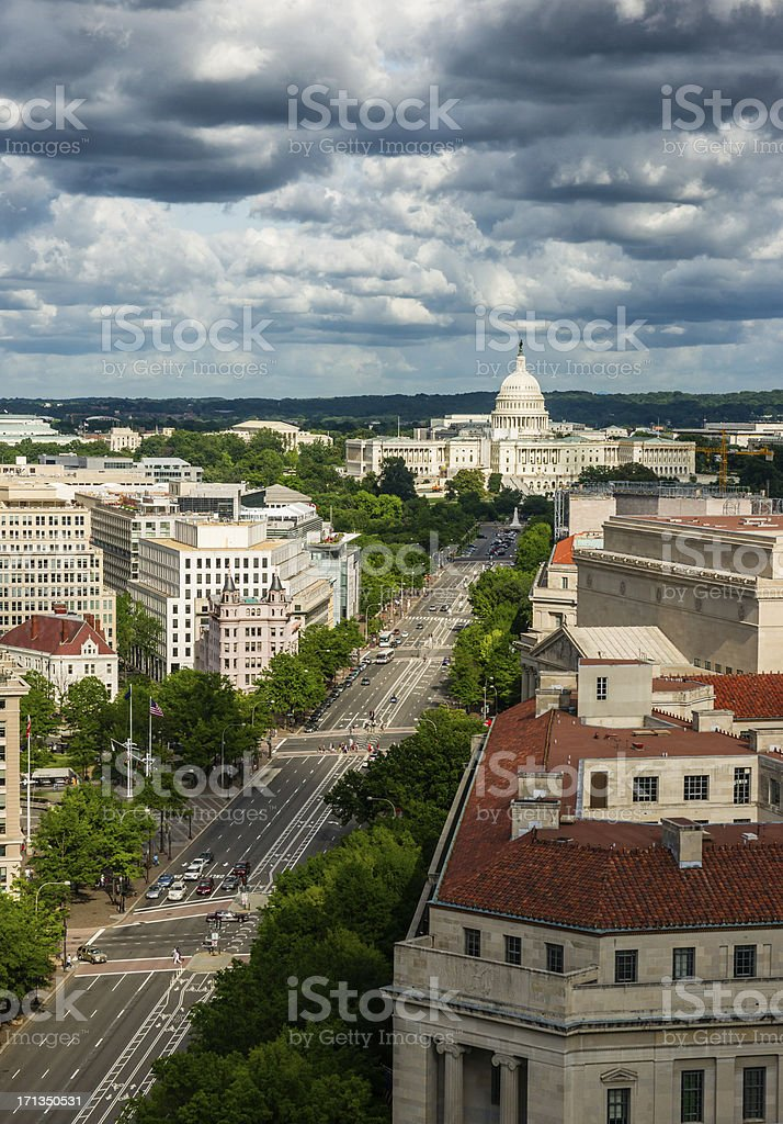 Pennsylvania Avenue leading up to the United States Capitol stock photo