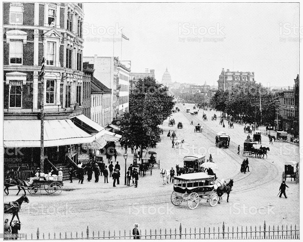 Pennsylvania Avenue, Washington DC, USA in 1880s stock photo