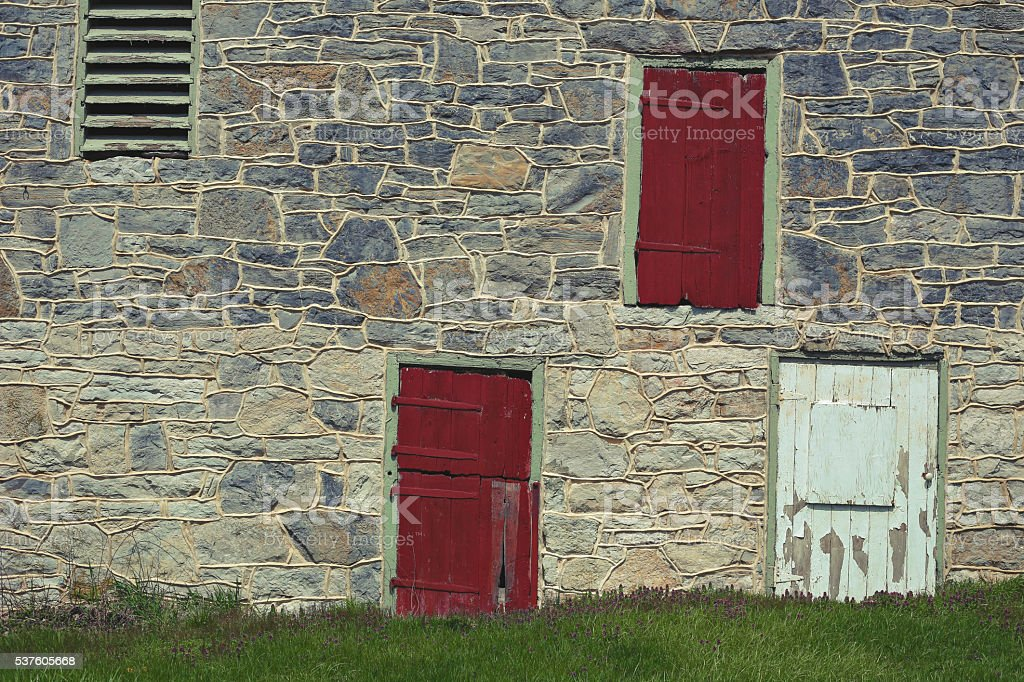 Pennsylvania Barn with Red and White Doors stock photo