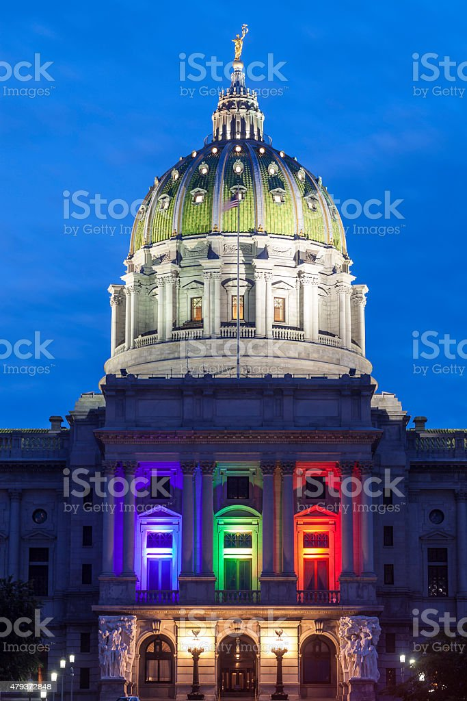 Pennsylvania Capitol After The Supreme Court Ruling On Gay Marriage stock photo
