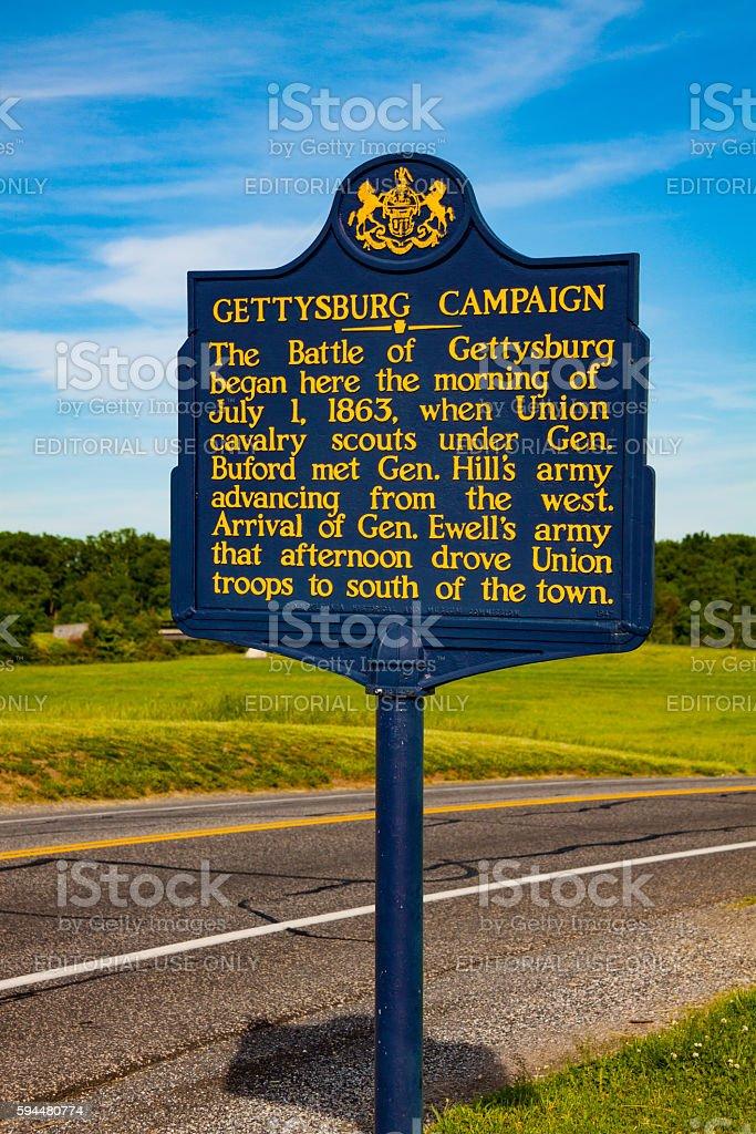 Pennsylvania Gettysburg Campaign Historic Marker stock photo
