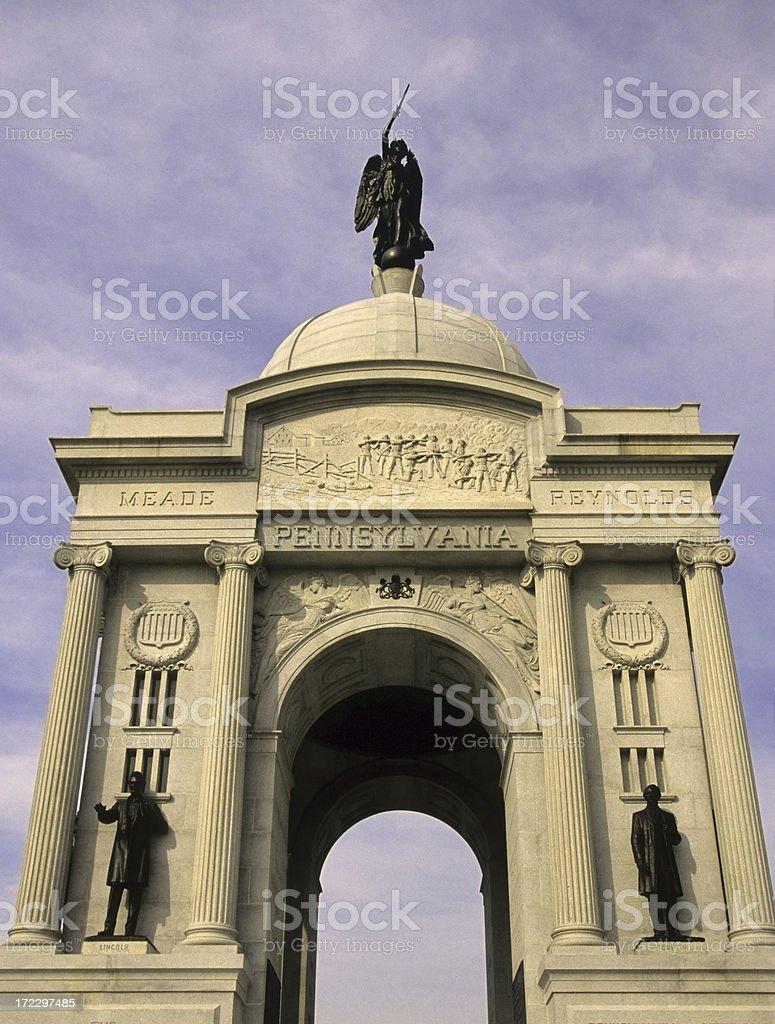 Pennsylvania Monument in Gettysburg National Military Park. stock photo