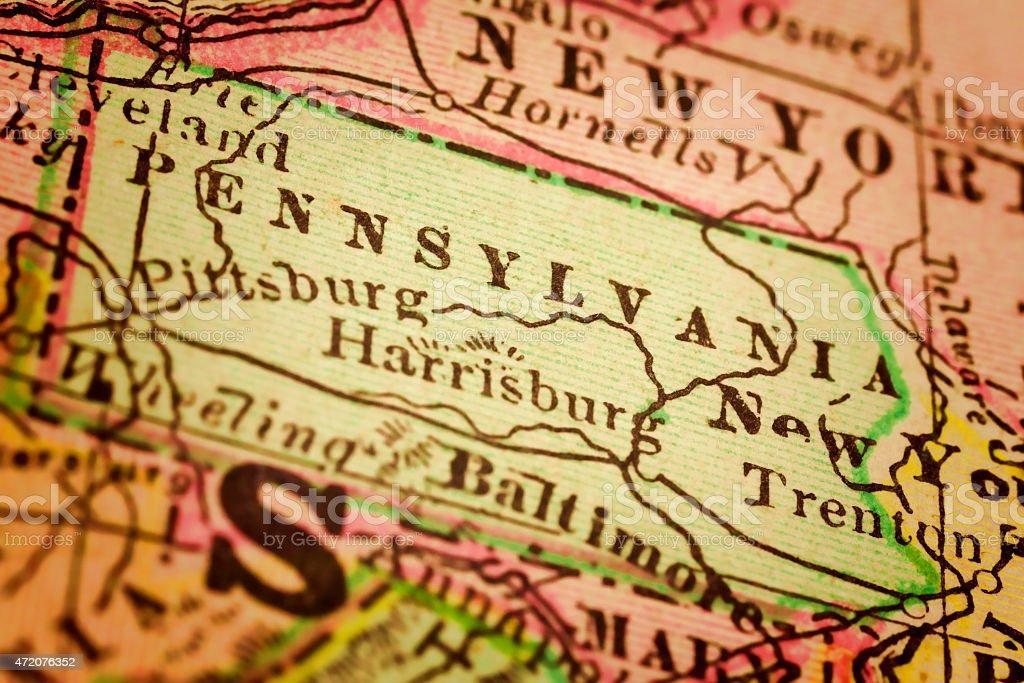Pennsylvania on an Antique map stock photo