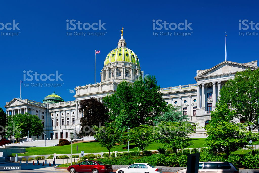 Pennsylvania State Capitol building wide view stock photo
