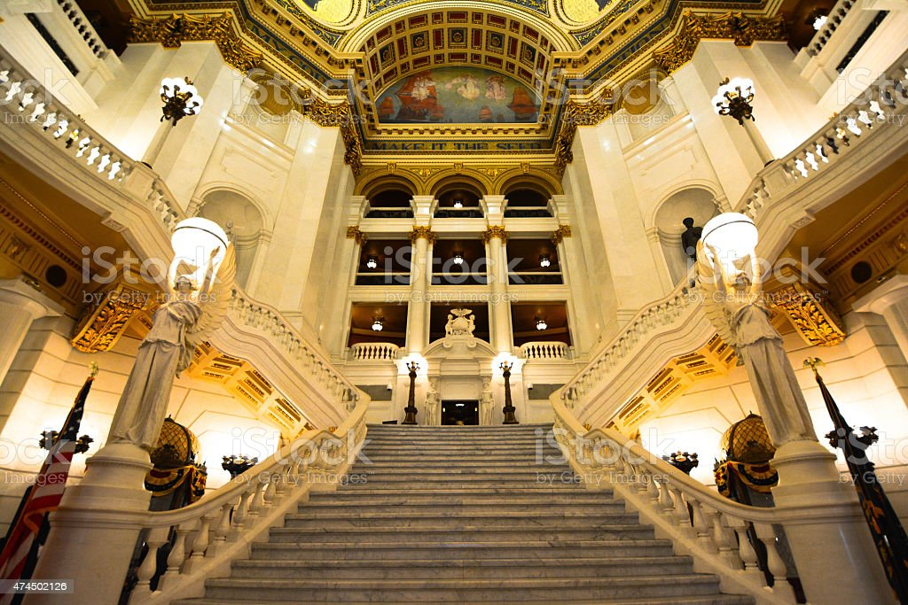 Pennsylvania State Capitol Ivory Stairs stock photo