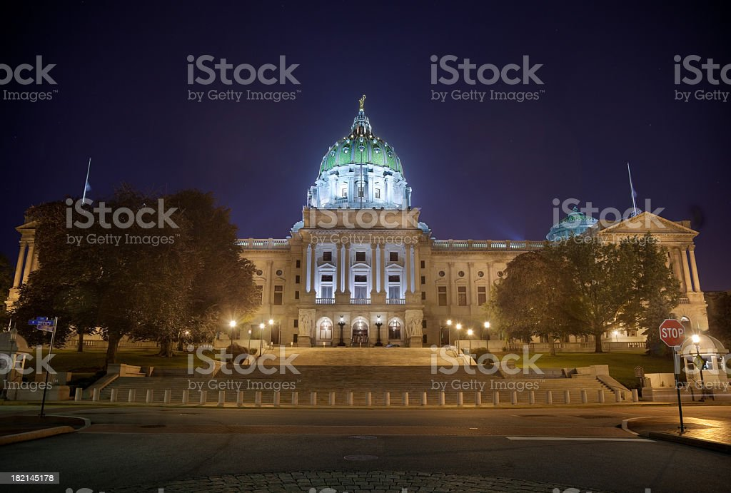 Pennsylvania State Capitol, Night Scene with Tower Lit royalty-free stock photo
