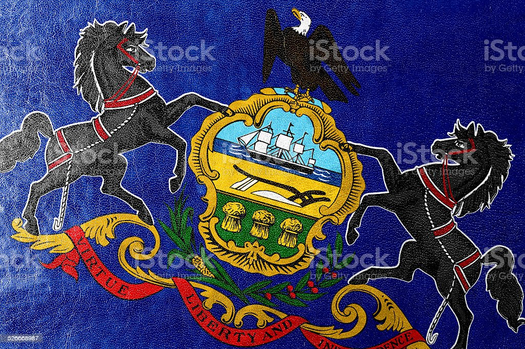 Pennsylvania State Flag painted on leather texture stock photo