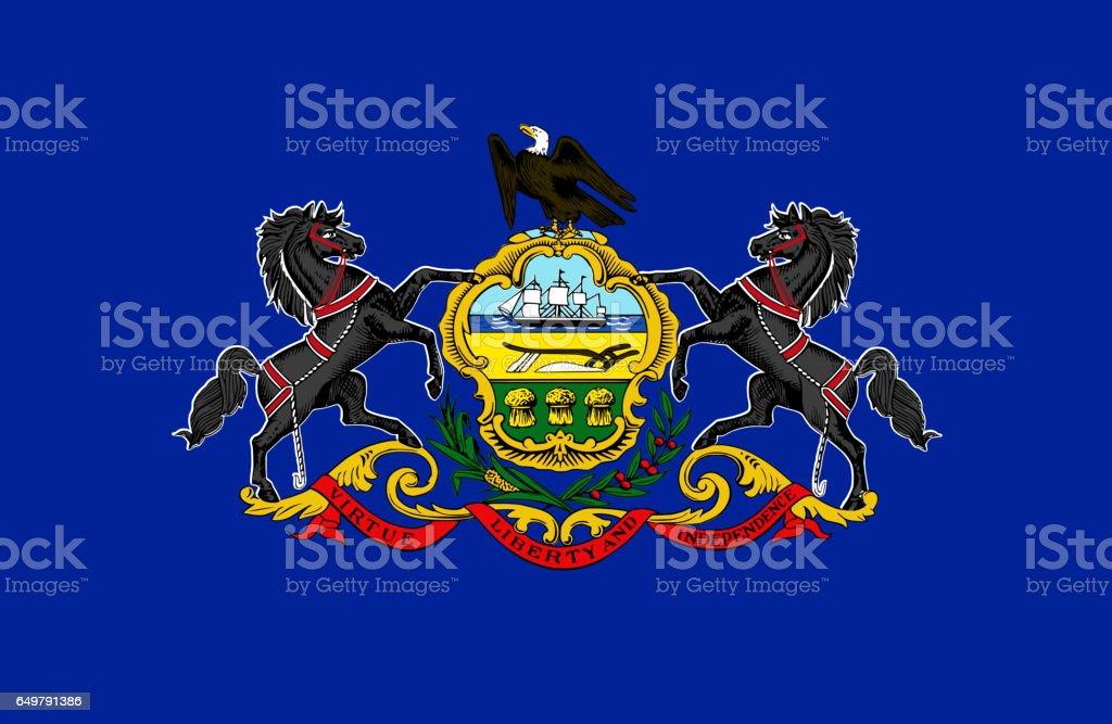 Pennsylvania State flat flag stock photo