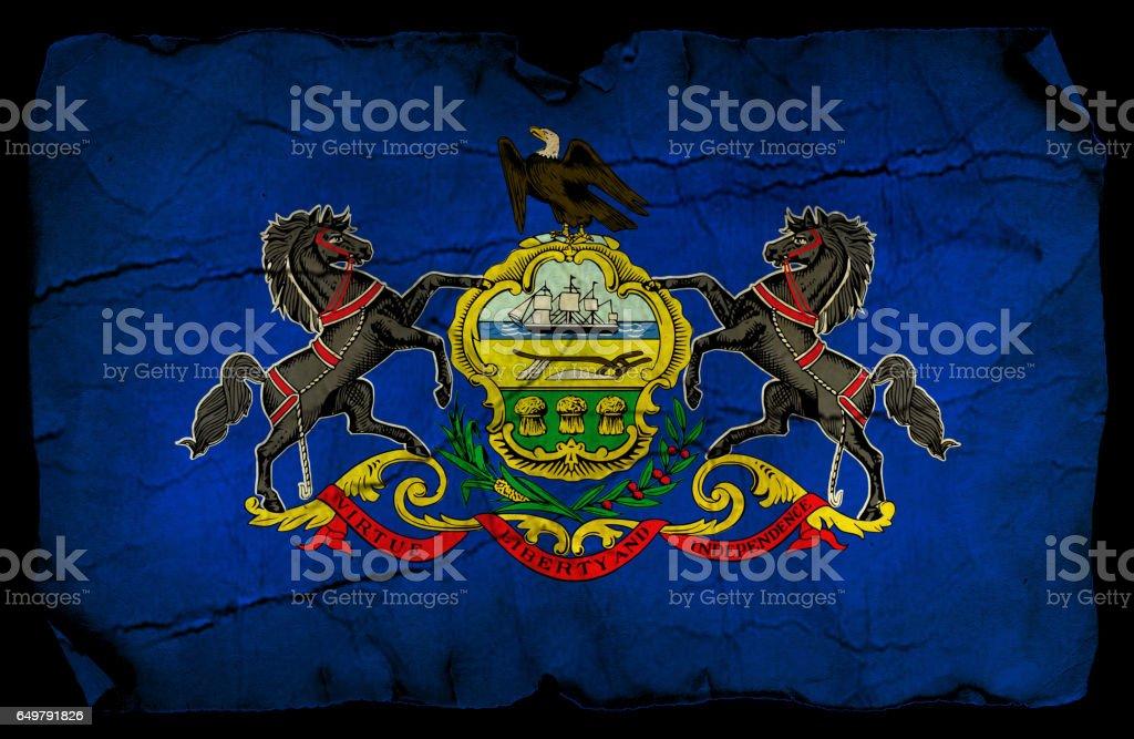 Pennsylvania State grunge flag stock photo