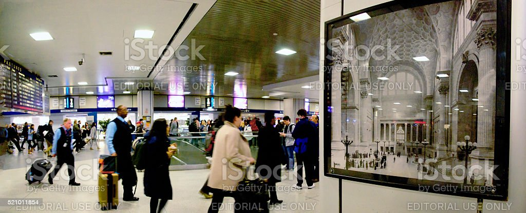 Pennsylvania Station Amtrak Concourse Compressed Present vs the Grand Past stock photo