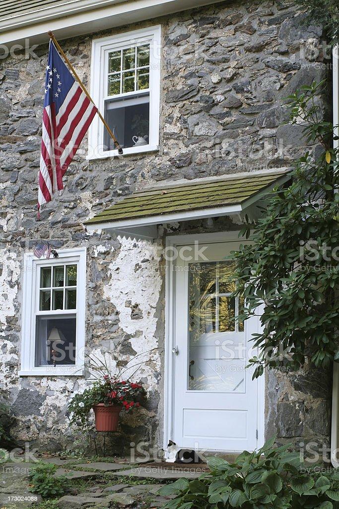 Pennsylvania suburban house with American flag royalty-free stock photo