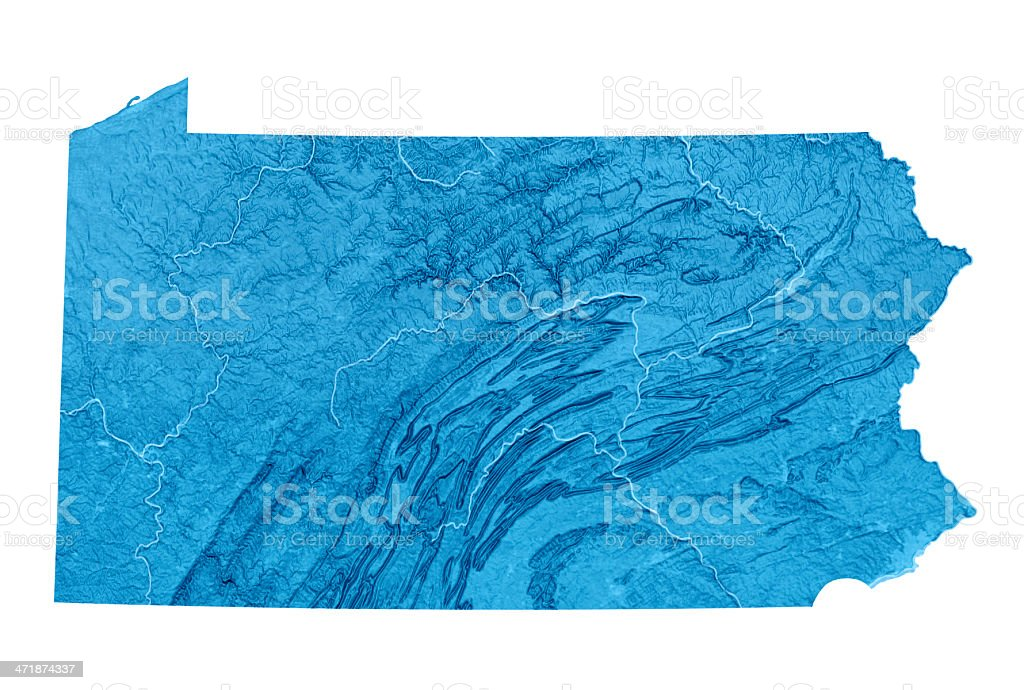 Pennsylvania Topographic Map Isolated stock photo