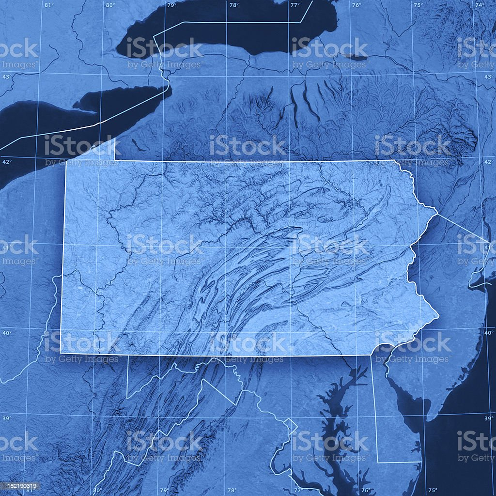 Pennsylvania Topographic Map stock photo