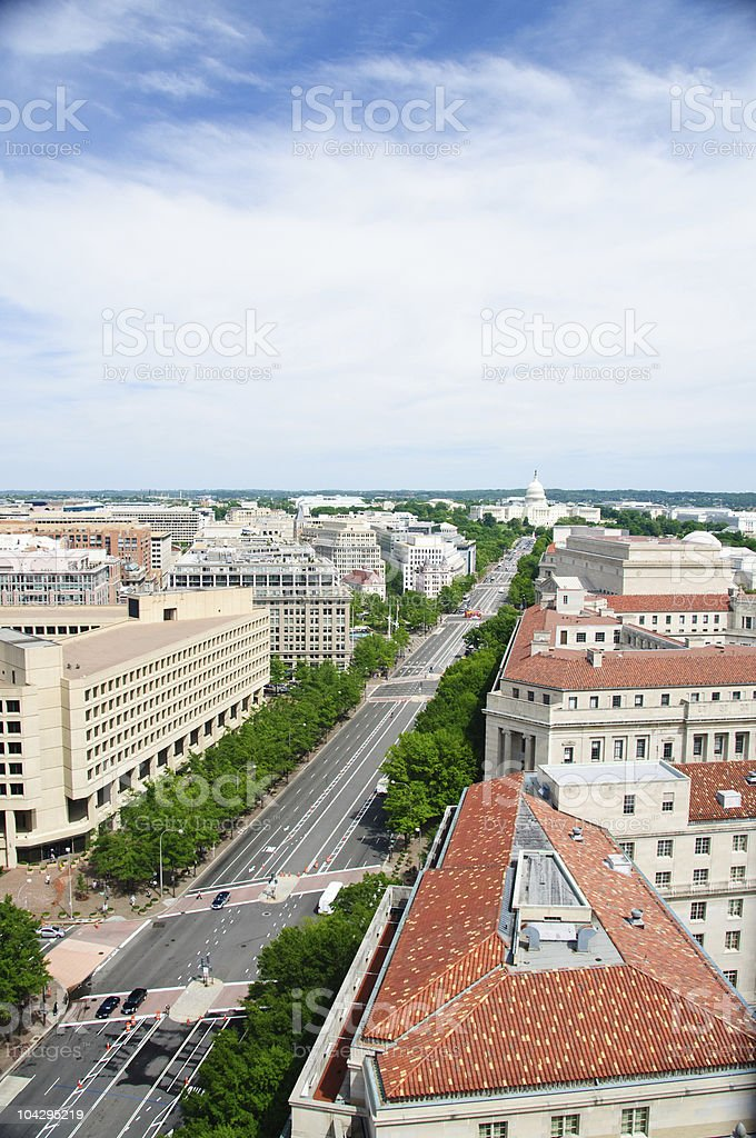 Pennsylvannia Avenue looking East to the US Capitol building stock photo