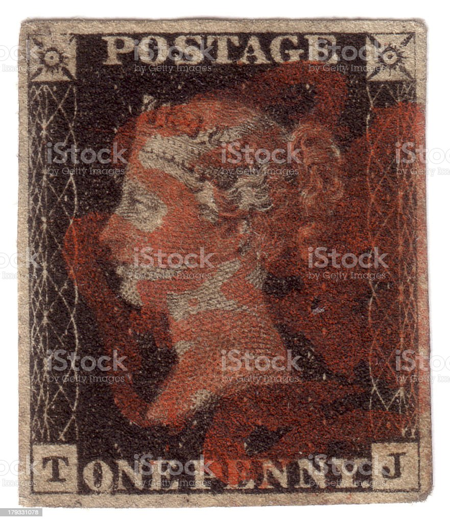 Penny black First World postage stamp design stock photo