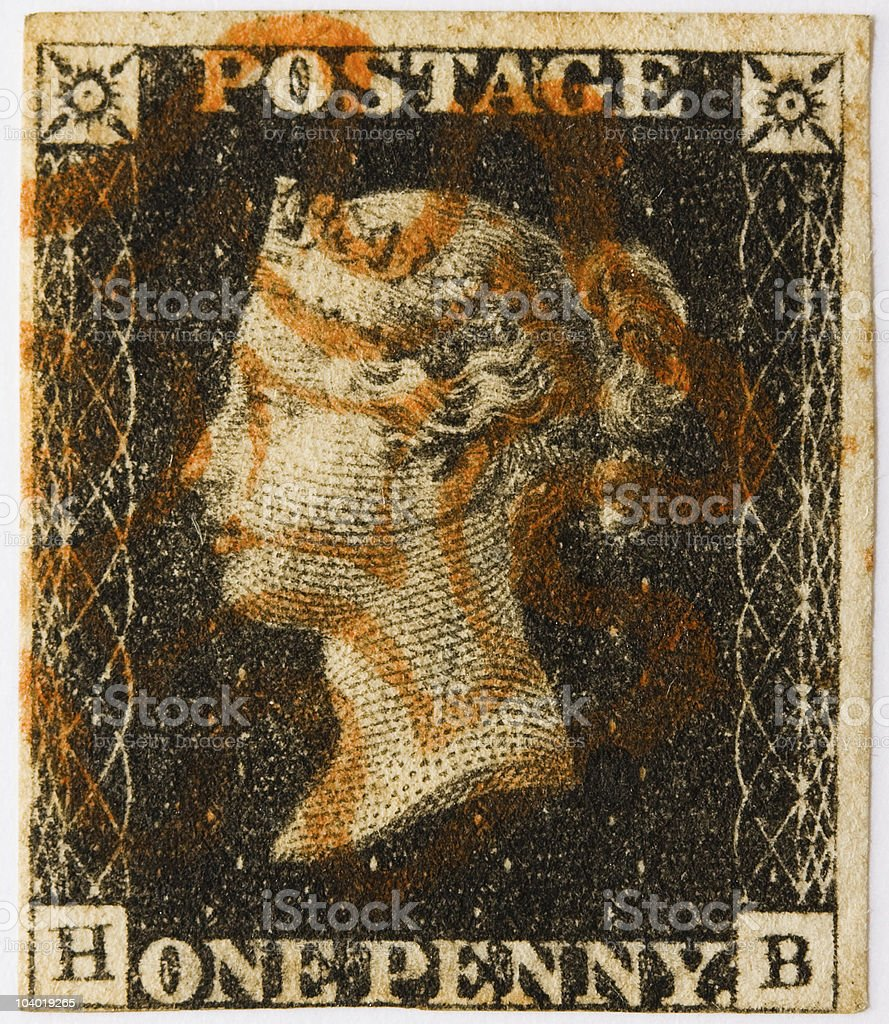 Penny Black with red postmark stock photo