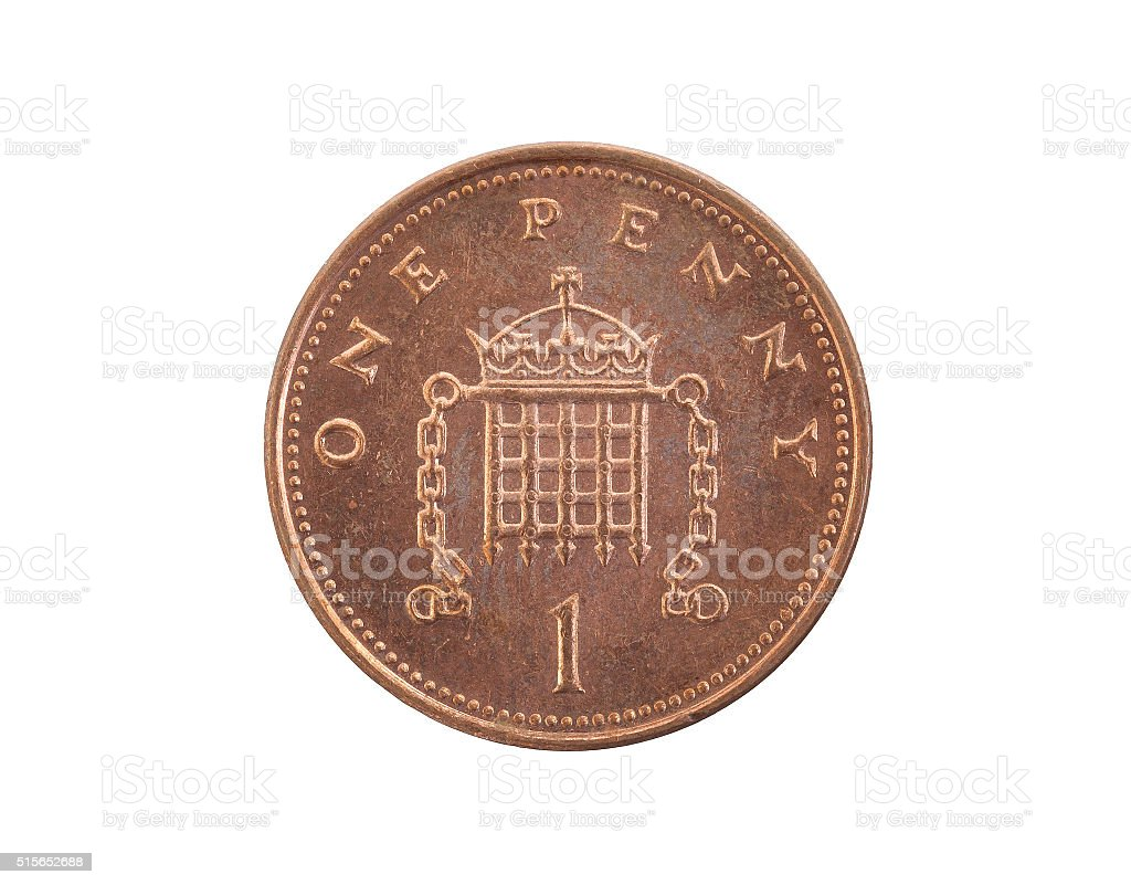 Penny coin isolated stock photo