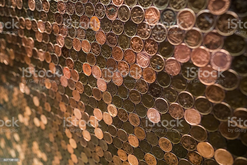 Penny copper wall stock photo