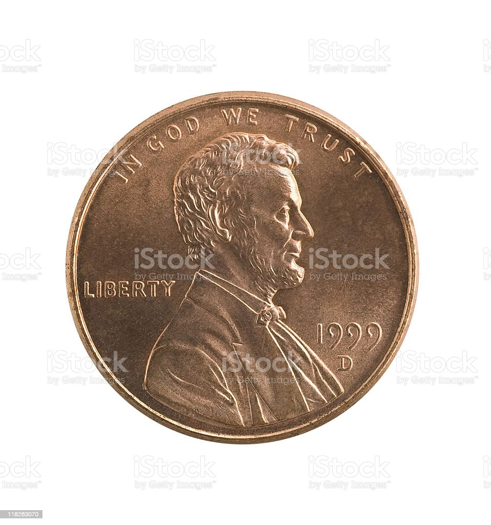 Penny isolated, clipping path. stock photo