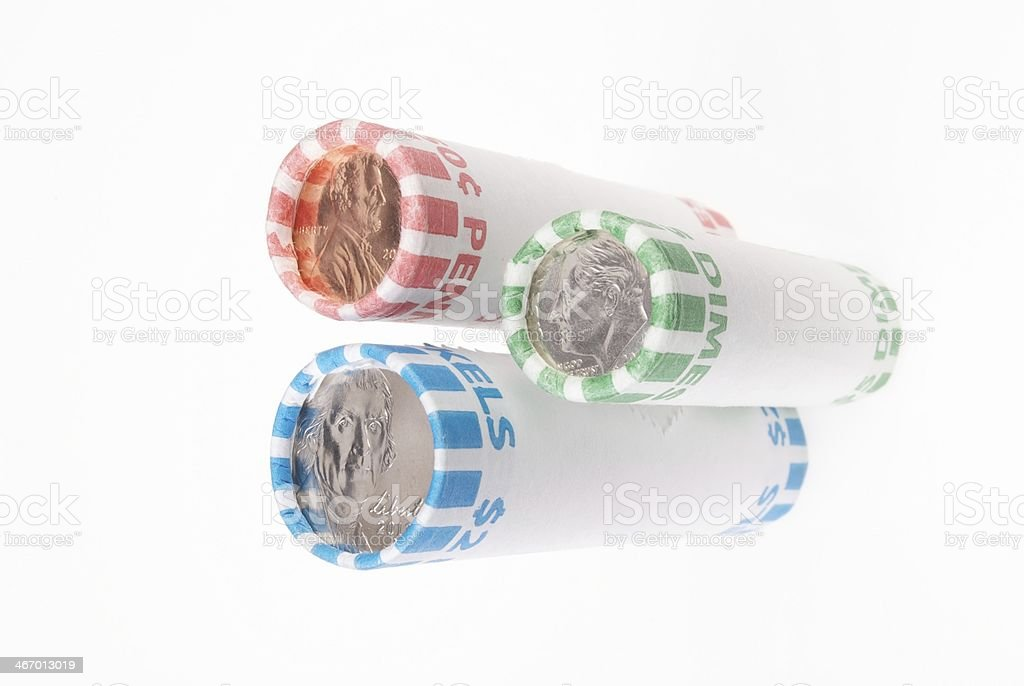 Penny Nickel Dime Rolls stock photo