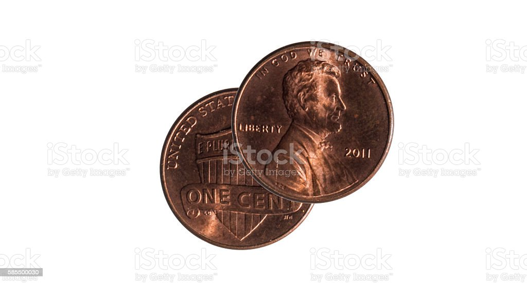 penny on a white background stock photo