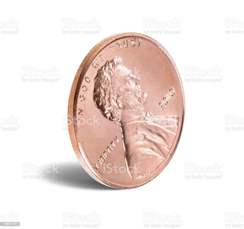 US penny on white stock photo